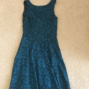 Teal fit and flair homecoming dress.